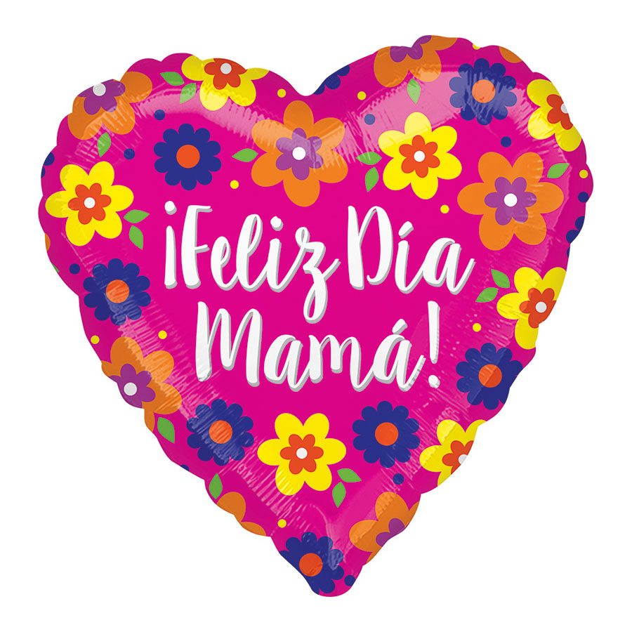 Globo Foil Corazón Felicidades Mamá 71 cm