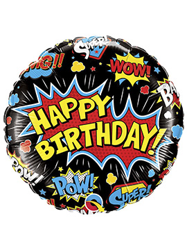 Globo Foil Happy Birthday Superhero 46 cm