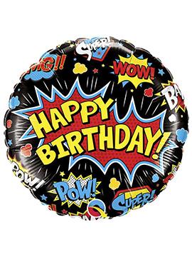 Globo Foil Happy Birthday Superhero 46 cm