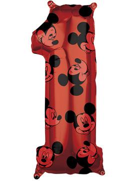 Globo Foil Nº 1 Rojo Mickey 66 cm