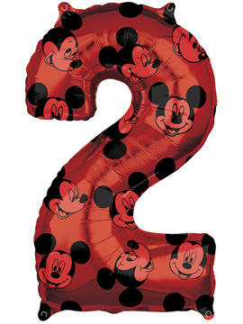 Globo Foil Nº 2 Rojo Mickey 66 cm