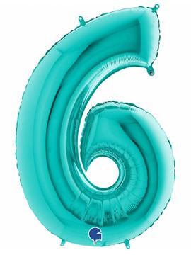 Globo Foil Número 6 Tiffany 1 Metro