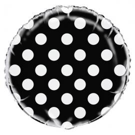 Globo Foil Negro Con Lunares Blancos
