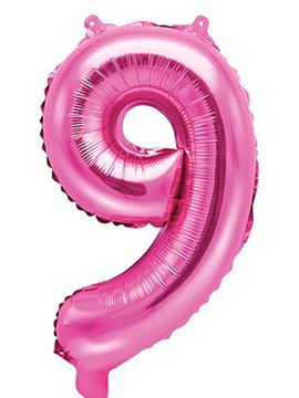 Globo Foil Número 9  Rosa Intenso