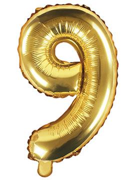 Globo Foil Número 9 Dorado 35 cm