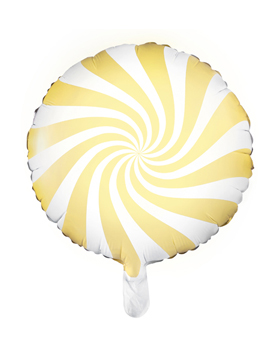 Globo Foil Redondo Amarillo y Blanco 45 cm