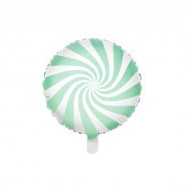 Globo de Foil Redondo Verde y Blanco 45 cm
