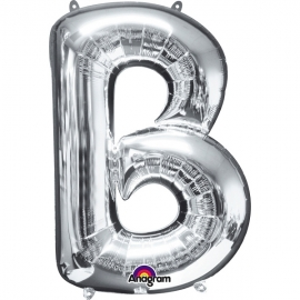 Globo letra B 40 cm plata