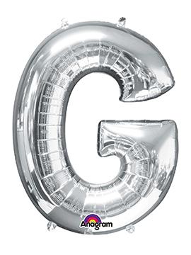 Globo Letra G Plateado 81 cm