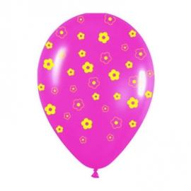 Pack de 10 globos rosas y amarillos con margaritas impresas