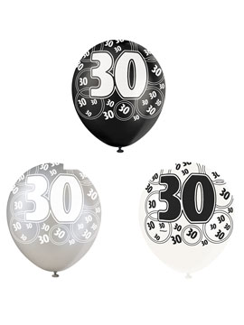Set de 6 Globos 30 Cumpleaños Negro 30 cm