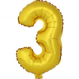 Globo Número 3 Dorado 40cm - Miles de Fiestas