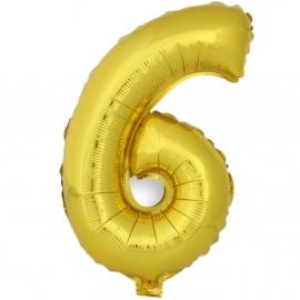 Globo Número 6 Dorado 40cm - Miles de Fiestas