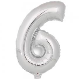 Globo Número 6 Plata 40cm - Miles de Fiestas