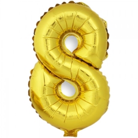 Globo Número 8 Dorado 40cm - Miles de Fiestas