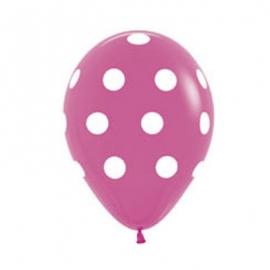 Pack de 10 globos rosas con lunares blancos