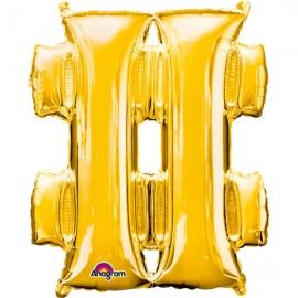 Globo símbolo # (almohadilla) 40 cm dorado