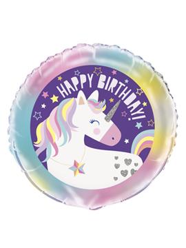 Globo de foil de cumpleaños de unicornio de 45 cm