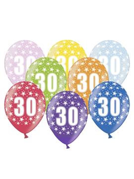 Set de 6 globos de látex de 30 cumpleaños de 30 cm de alto