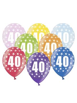 Set de 6 globos de látex de 40 cumpleaños de 30 cm de alto