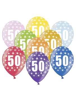 Set de 6 globos de látex de 50 cumpleaños de 30 cm de alto