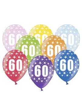Set de 6 globos de látex de 60 cumpleaños de 30 cm de alto