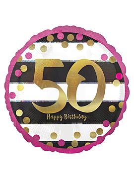 Globo de foil con forma redonda para 50 cumpleaños de Pink Sparkling