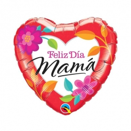 Globo Foil Corazón Feliz Día Mamá 46 cm
