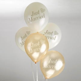 Globos Just Married Marfil y Dorado