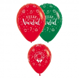 Pack de 12 Globos Feliz Navidad 30 cm