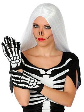Guantes Negros Esqueleto 25 cm