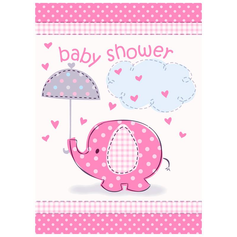 Invitaciones Baby Shower Elefante Rosa