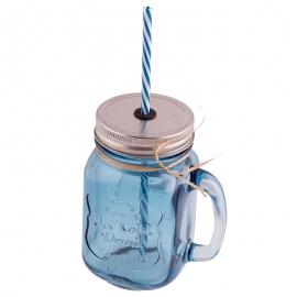 Jarra de cristal con asa, tapa y pajita color azul - Miles de Fiestas