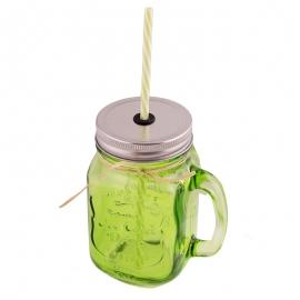 Jarra de cristal con asa, tapa y pajita color verde - Miles de Fiestas