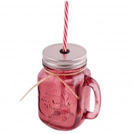 Jarra de cristal con asa, tapa y pajita color rosa oscuro - Miles de Fiestas