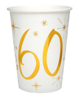 Juego 10 Vasos 60 años Oro 220 ml