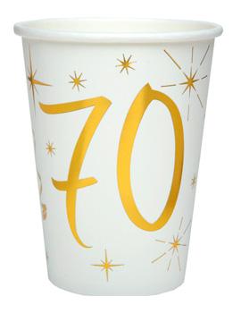 Juego 10 Vasos 70 años Oro 220 ml
