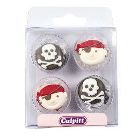 Juego 12  decoraciones comestibles Piratas