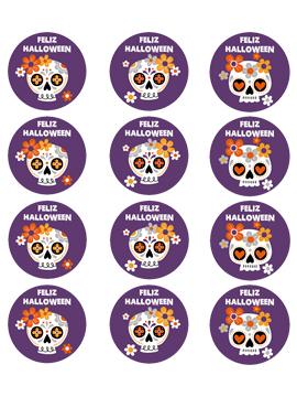 Juego 12 Impresiones Papel de Azúcar Catrinas Halloween 6 cm