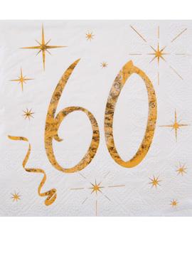 Juego 20 Servilletas Cóctel 60 años