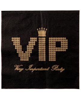 Juego 20 Servilletas Negras VIP 16 cm