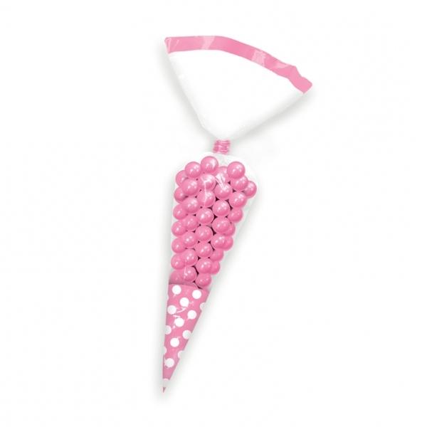 Juego de 10 conos para dulces Rosa y blanco