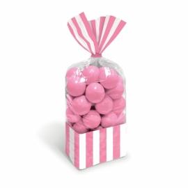 Juego de 10 bolsas para dulces rosas y blancas