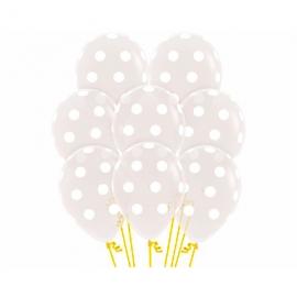Juego de 10 Globos Transparentes con Lunares Blancos