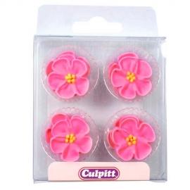 Juego de 12 Flores de Azúcar Rosa Intenso