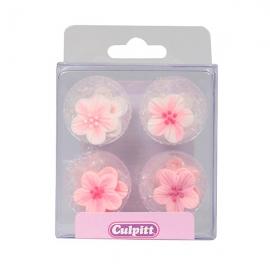 Juego de 12 Flores de Azúcar Tonos Rosados