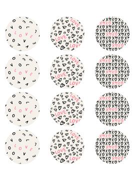 Juego de 12 Impresiones en Papel de Azúcar San Valentín Modelo B 6 cm