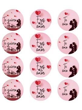 Juego de 12 Impresiones en Papel de Azúcar San Valentín Modelo C 6 cm