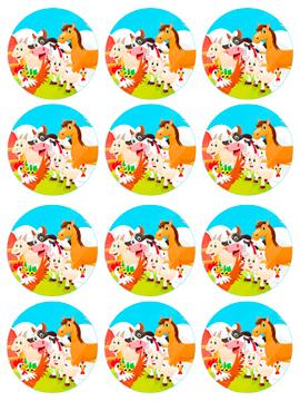 Juego de 12 Impresiones en Papel de Azúcar Animales de la Granja