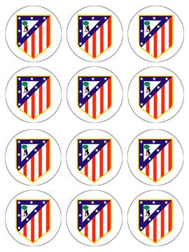 Juego de 12 Impresiones en Papel de Azúcar Atlético de Madrid
